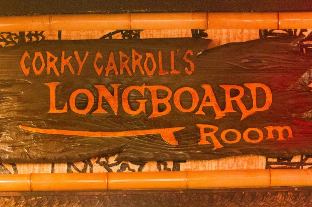 Surfer and Orange County Register columnist Corky Carroll got his own room at Don the Beachcomber's in 2012. (File photo by Wayne Mah, contributing photographer)