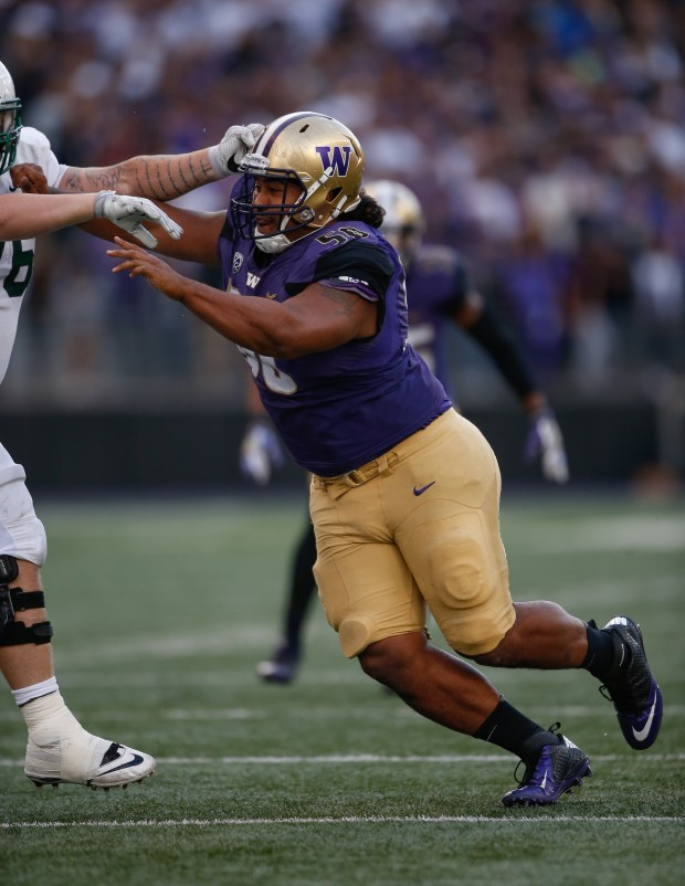 Defensive lineman Vita Vea of the Washington Huskies battles the Portland State Vikings on September 17, 2016 at Husky Stadium in Seattle, Washington. (Photo by Otto Greule Jr/Getty Images)