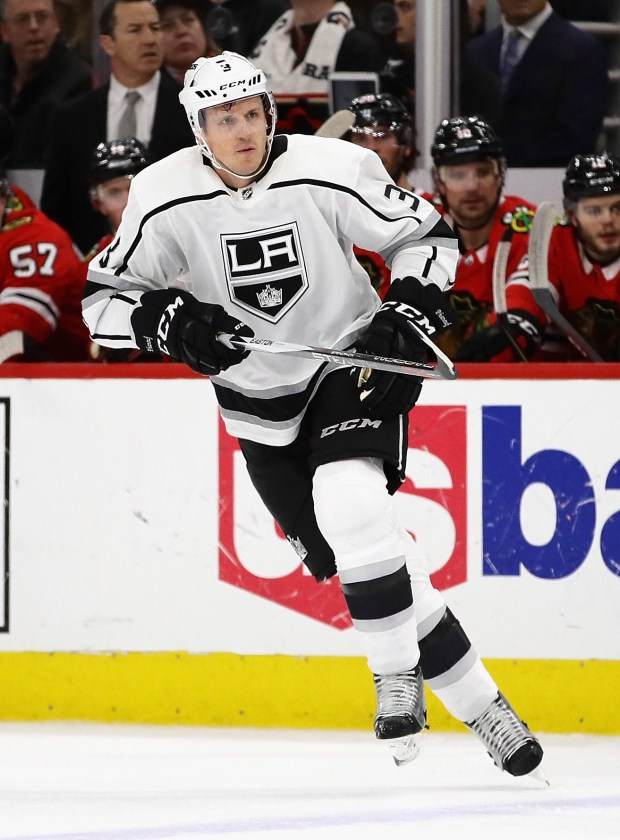 Dion Phaneuf of the Los Angeles Kings skates against the Chicago Blackhawks at the United Center on February 19, 2018 in Chicago, Illinois. (Photo by Jonathan Daniel/Getty Images)