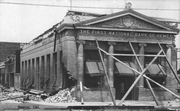 The First National Bank of Hemet building sustained moderate damage during the quake.Photo courtesy of Steve Lech