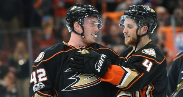 Ducks defensemen Josh Manson, left, and Cam Fowler could help anchor the blue line for the franchise for years to come. (Photo by Chris Williams/Icon Sportswire via Getty Images)