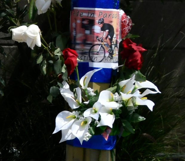 Friends had gathered were a ghost bike has been placed near the scene of a Woodland Hills collision on Burbank Boulevard and De Soto Avenue that left cyclist Sebastian Montero, 15, of Tarzana dead on Easter Sunday.Photo by Gene Blevins/LA DailyNews/SCNG