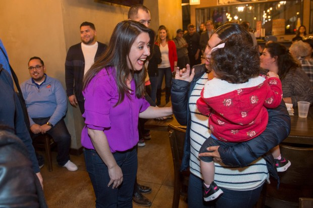 Assembly in District 39 candidate Luz Rivas at Magaly's Tamales in San Fernando April 3, 2018. (Photo by Hans Gutknecht, Los Angeles Daily News/SCNG)