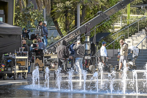 TV filming takes place in Grand Park in downtown Los Angeles December 9, 2013. (Photo by David Crane/Los Angeles Daily News)
