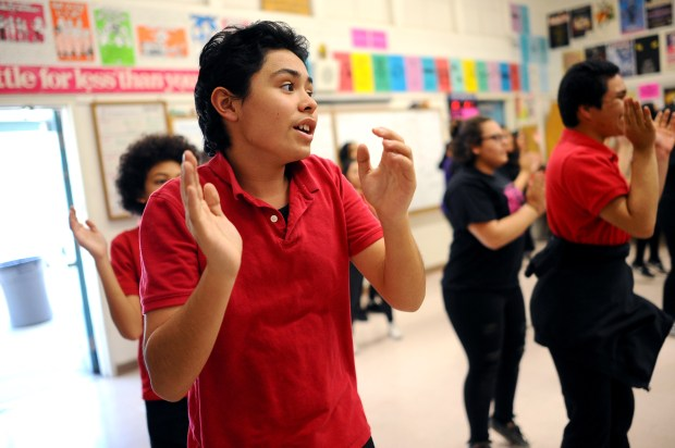 Seth Ramirez performs with Pacoima Singers of Pacoima Middle School TV, Theater and Performing Arts Magnet April 18, 2018. The group is heading to Washington DC to perform on the steps of the Lincoln Memorial.(Andy Holzman/Los Angeles Daily News)
