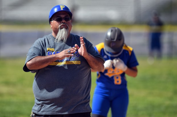 Sun Valley Poly head softball coach Manny Peralta during its game against Chavez at Poly High School in Sun Valley, Thursday, April 12, 2018. . (Photo by Hans Gutknecht, Los Angeles Daily News/SCNG)