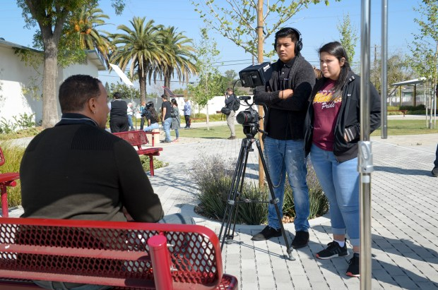 Students in the Film Production program at Sun Valley High School record a video segment. The school opened the doors on it's $500,000 studio and editing facility funded by a Career Technical Education Incentive Grant. ( Photo by David Crane, Los Angeles Daily News/SCNG)