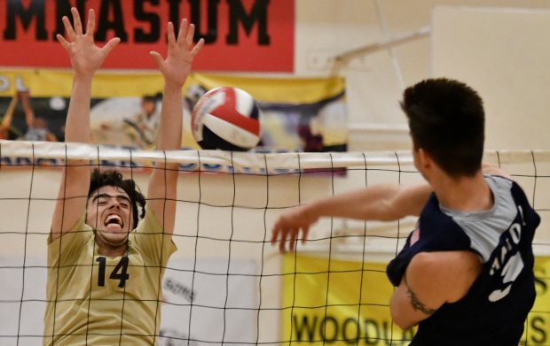 (L) Taft's #14 Leeor Levy tries to block the ball, as they take on Chatsworth during the City Section boys volleyball West Valley League showdown. Photo by Gene Blevins/LA DailyNews/SCNG