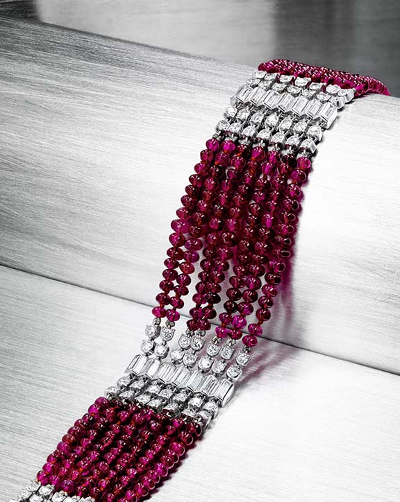 An Art Deco ruby and diamond bracelet by Cartier available at the Bonhams Fine Jewelry sale on April 17.
