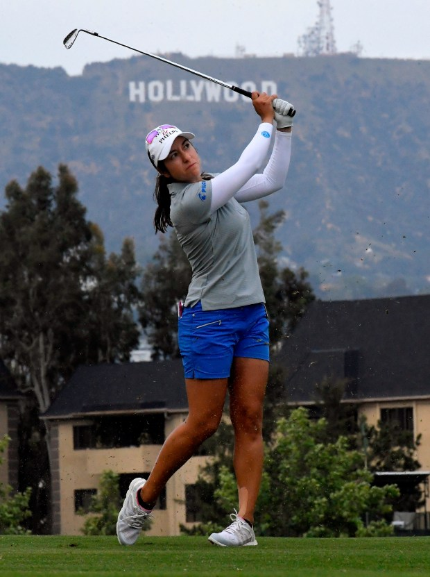 Marina Alex hits from the fairway on the 13th hole during the third round of the LPGA Tour's HUGEL-JTBC LA Open golf tournament at Wilshire Country Club on Saturday, April 21, 2018, in Los Angeles. (AP Photo/Mark J. Terrill)