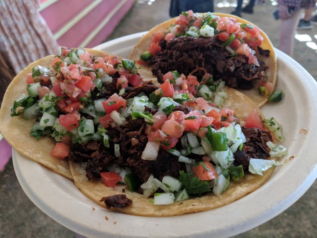 Barbacoa tacos from Cena Vegan.