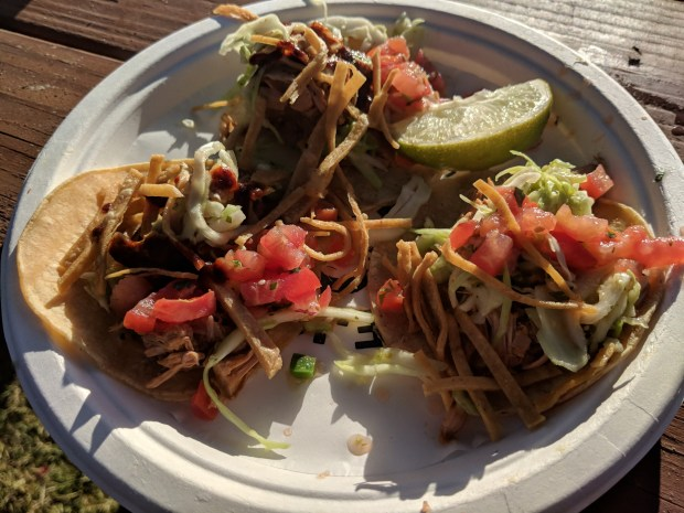 Jackfruit tacos from Trejos Tacos.