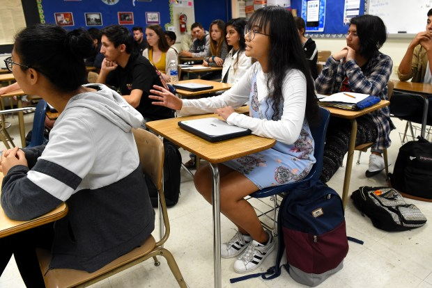 Senior Regina Tambunan makes her point as students talk about politics in their AP Government class at Alta Loma High School in Rancho Cucamonga, CA., Thursday, April 5, 2018. (Staff photo by Jennifer Cappuccio Maher, The Sun/SCNG)