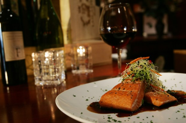 New Zealand King Salmon Fillet from Fleming's Prime Steakhouse and Wine Bar, located at the Victoria Gardens in Rancho Cucamonga. Fleming's has a special gift card offer. (The Press-Enterprise/Stan Lim)