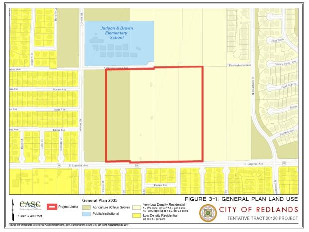 A 105-home development North of Lugonia Avenue stalled in the Planning Commission on April 24, 2018 after questions were raised about possibly historical finds at the location. (Courtesy of City of Redlands)