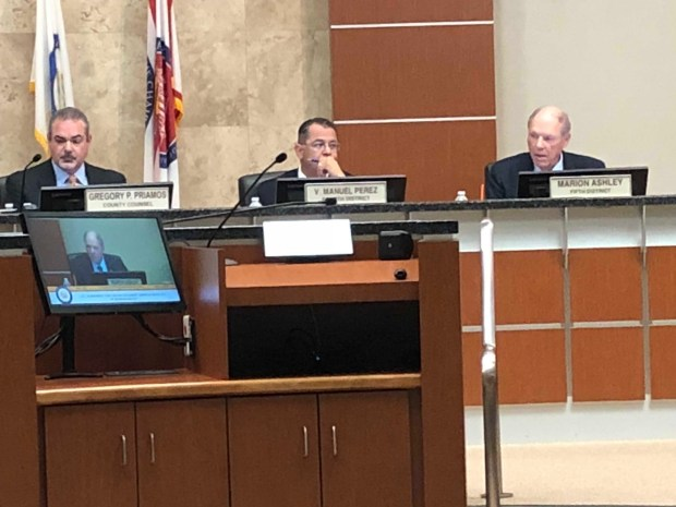 Riverside County Supervisor Marion Ashley, right, speaks at a county meeting on Tuesday, May 1. Supervisors voted 4-0 to extend a contract to provide police protection in Moreno Valley. (Photo by David Downey, Staff)