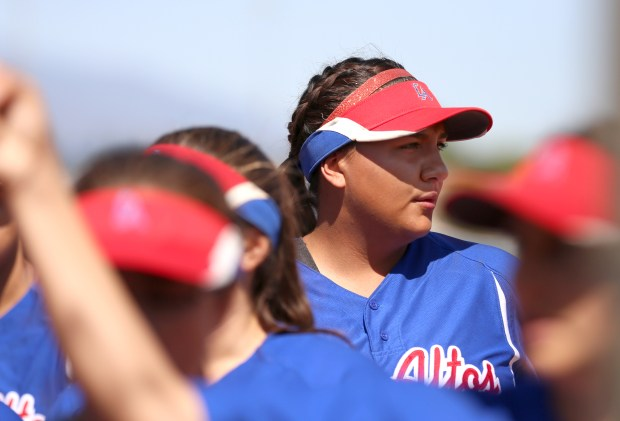 Los Altos' Savannah Diederich during a game against Charter Oak at Charter Oak High School in Covina, Calif. on Tuesday, April 17, 2018. (Correspondent photo by Trevor Stamp)