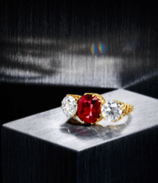 Ruby and diamond ring available at Bonhams upcoming April 17 sale.