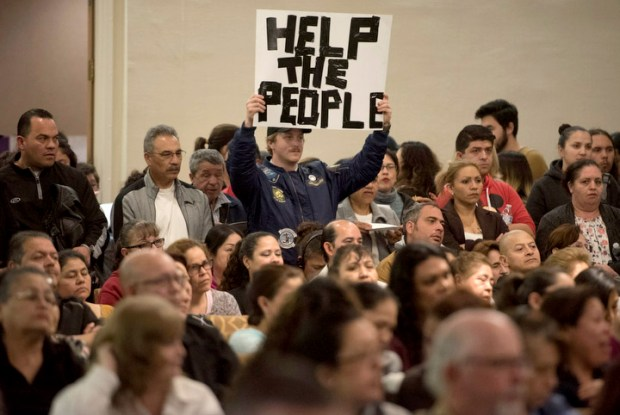 Hundreds of Disneyland workers attended a Town Hall sponsored by Disney Resort labor unions in Anaheim on Wednesday, Feb. 28, 2018. They came to discuss a survey showing that they struggle to make ends meet on their Disneyland wages, and announced a ballot initiative to raise the minimum to $18 an hour. (File Photo by Kevin Sullivan/Orange County Register/SCNG)