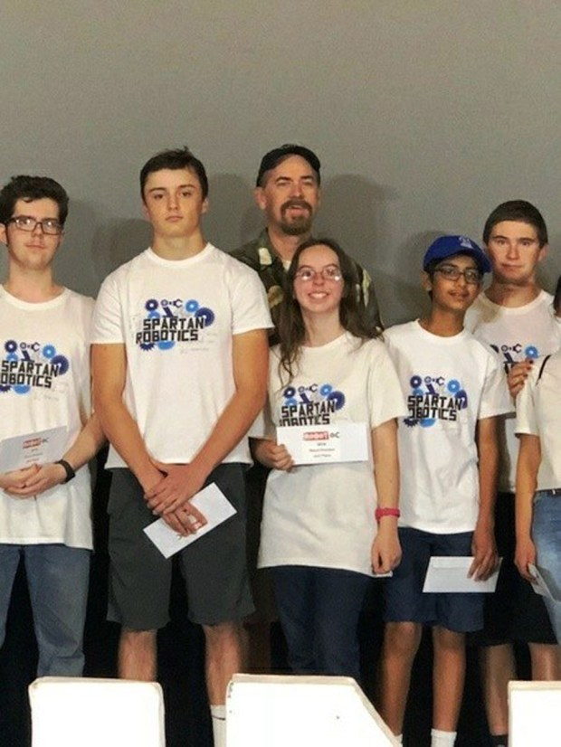 The Villa Park High School VEX Robotics Team, from left, Joseph Achtien, Gino Anguili, Jenna Achtien, Armaan Chopra, and Matthew Jelensky took second place out of 43 teams at the Imaginology VEX competition. With them is Robotics Advisor and STEM teacher, James Hughes. (Courtesy of VPHS)