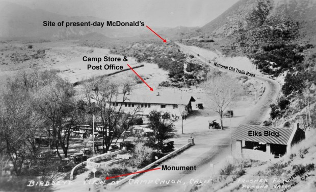 From the collection of Mark LandisBirds-eye view of Camp Cajon circa 1922, showing the main features of the camp, and location of the present-day McDonald's.