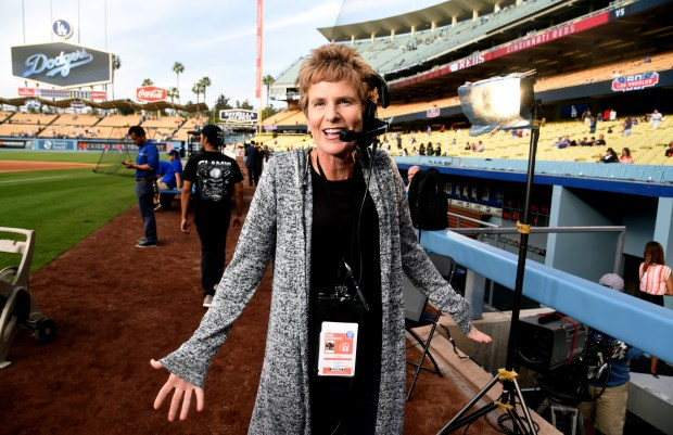 Donna Moskal, a stage manager for the Los Angeles Kings' Fox Sports West telecasts, works freelance for the Cincinnati Reds Fox Sports coverage at Dodger Stadium. (Keith Birmingham/SCNG)