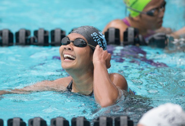 Los Osos' Emily Trieu celebrates after her first place finish in the 100 yard backstroke at the CIF Southern Section Division 2 swimming finals at the Riverside Aquatics Center in Riverside on Saturday, May 12, 2018. (Photo by Kevin Sullivan, Orange County Register/SCNG)