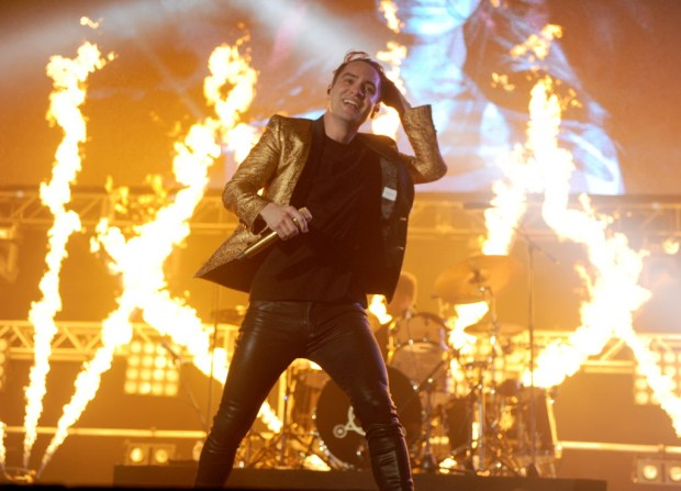 Brendon Urie of Panic! at the Disco performs during KROQ's Weenie Roast 2018 at StubHub Center, May 12. (Photo by Kelly A. Swift, Contributing Photographer)