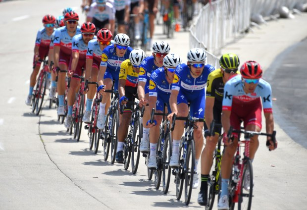 Riders in the peloton form a line as they race in the first stage of the 2018 Amgen Tour of California in Long Beach on Sunday, May 13, 2018. The cyclists took 12 laps around coastal Long Beach for a distance of 83 miles. (Photo by Scott Varley, Contributing Photographer)