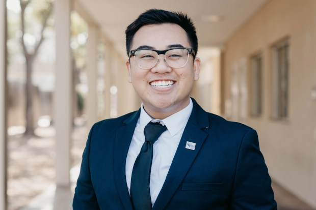 Cal State Fullerton student Andrew Vo received the university's president of the year award, presented to the leader of a student organization. (Photo courtesy of Cal State Fullerton)