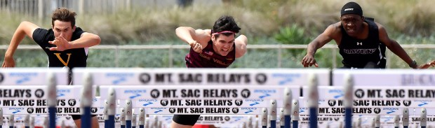 Semi Valley's Riley Hunt finished second in the division 2 110 hurdles during the CIF-SS Track and Field Divisional Finals at El Camino College in Torrance, Calif., on Saturday, May 19, 2018. (Photo by Keith Birmingham, Pasadena Star-News/SCNG)