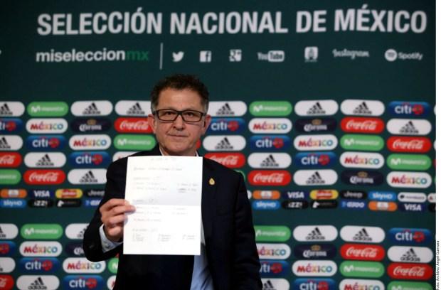Juan Carlos Osorio, técnico de la Selección Mexicana, dio lista preliminar de 28 convocados para el Mundial de Rusia 2018. (Agencia Reforma)