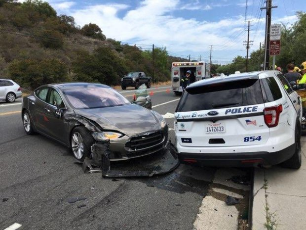 A Tesla, seen here, was traveling on autopilot but with a driver when it slammed into a police vehicle Tuesday, May 29. The driver of the Tesla had minor injuries but refused medical treatment. (Photo Courtesy of the Laguna Beach Police Department)