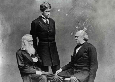 Richard Henry Dana Jr., right, is seen with his father and son.