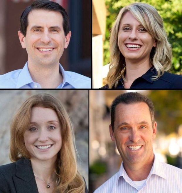Democrats Bryan Caforio, top left, Katie Hill, top right, and Jess Phoenix, bottom left, are running to represent Congressional District 25, a seat currently held by Rep. Steve Knight, bottom right. (Courtesy photos)