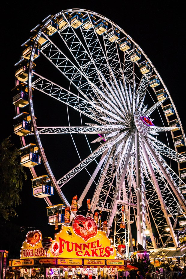 Riding the giant Ferris wheel offers a great vantage point to see all the goings-on at the Orange County Fair. (Photo by Brad A. Johnson, Orange County Register/SCNG)