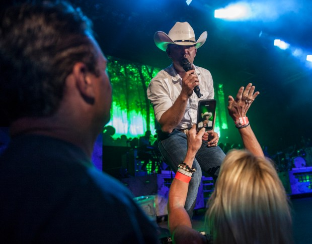 Justin Moore, shown here performing at Pacific Amphitheatre in Costa Mesa in 2017, will perform at Spotlight 29 Casino over Memorial Day weekend. (Photo by Miguel Vasconcellos, Courtesy of OC Fair and Event Center)