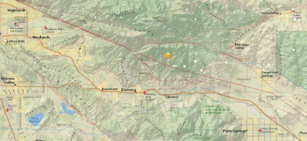 The epicenter of a magnitude-4.5 earthquake that struck 6.8 miles north of Cabazon at 4:49 a.m. Tuesday, May 8, 2018, is seen in this USGS map.