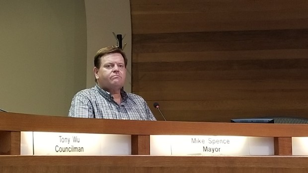 West Covina City Councilman Mike Spence resigned as mayor Thursday night before the remaining four members of the City Council voted to remove him from the position immediately. (Photo by Christopher Yee, San Gabriel Valley Tribune/SCNG)