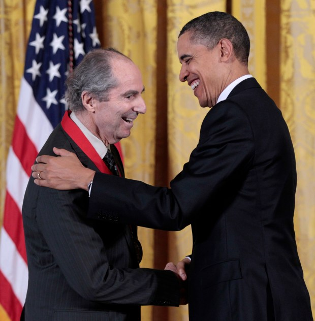 In this March 2, 2011, file photo, President Barack Obama, right, presents a National Humanities Medal to novelist Philip Roth during a ceremony in the East Room of the White House in Washington. (AP Photo/Pablo Martinez Monsivais, file)