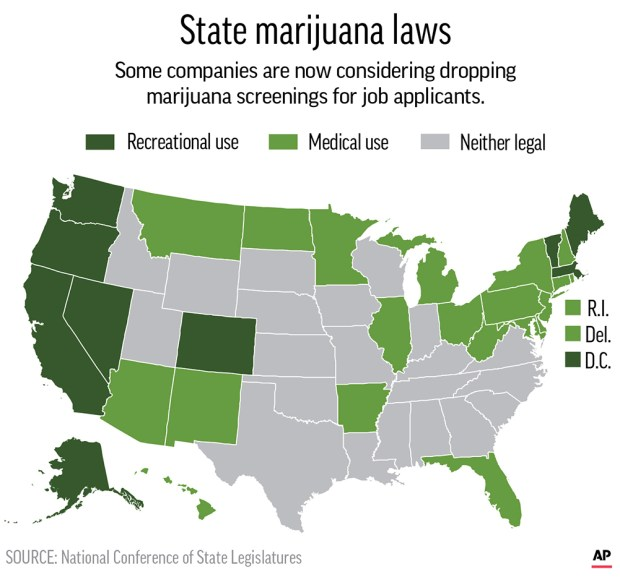 Map shows states where marijuana use is legal for recreational use and medical use; 2c x 3 inches; 96.3 mm x 76 mm;