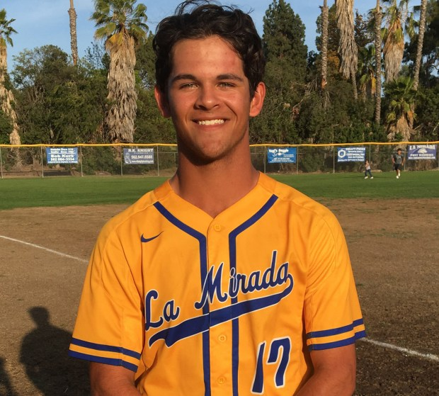 La Mirada sophomore Jared Jones hit a game-winning grand slam and struck out 13 in a seven-inning relief stint as the Matadores topped Woodbridge 6-2 in 12 innings Friday. (Photo by Julian Lopez, Correspondent)