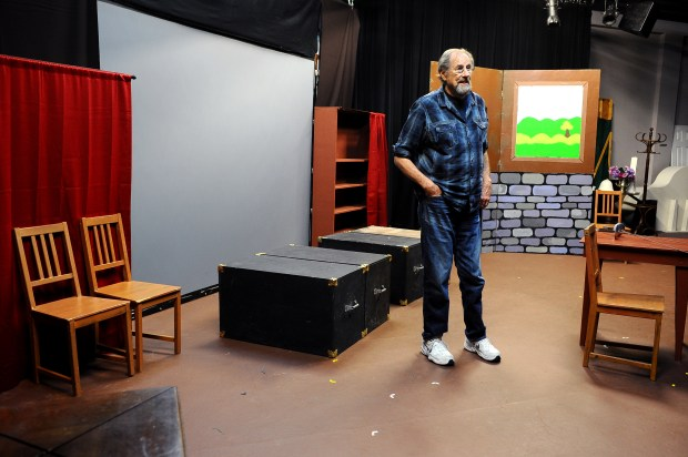 West Valley Playhouse Artistic Producing Director Jon Berry stands on the stage at the theater in Canoga Park May 4, 2018. The owner of the building has recently told the theater to vacate the site because she plans to sell the property. The theater is now trying to raise money to save the space.(photo by Andy Holzman)