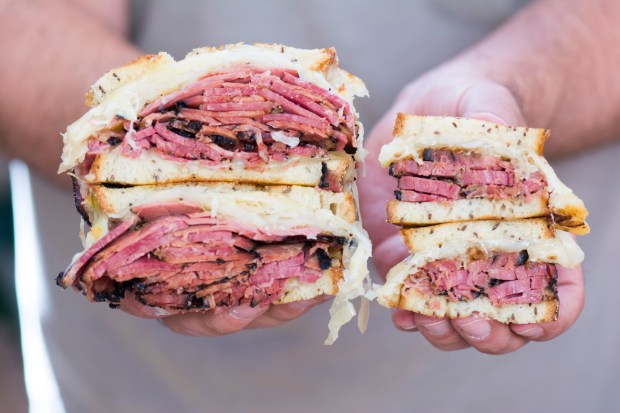 Factor's Famous Deli in Los Angeles is celebrating its 70th anniversary with daily raffles and an opportunity to win 70 pastrami sandwiches. (Photo by Aliza Sokolow).