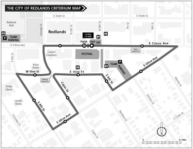Redlands Bicycle Classic will run through downtown Redlands on Saturday, May 5,, 2018. (Courtesy map)