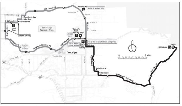 The Redlands Bicycle Classic will run through Yucaipa and Oak Glen on Thursday, May 3, 2018. (Courtesy map)