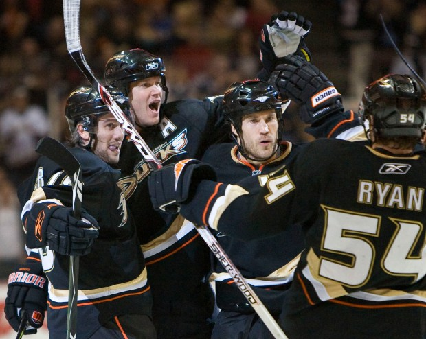 ORG XMIT: CAMA104 Anaheim Ducks' Drew Miller, left, Chris Pronger, second from left, Steve Montador, and Bobby Ryan (54) celebrate Pronger's goal against the Buffalo Sabres in the second period of an NHL hockey game in Anaheim, Calif., Monday, Feb. 2, 2009. (AP Photo/Mark Avery)