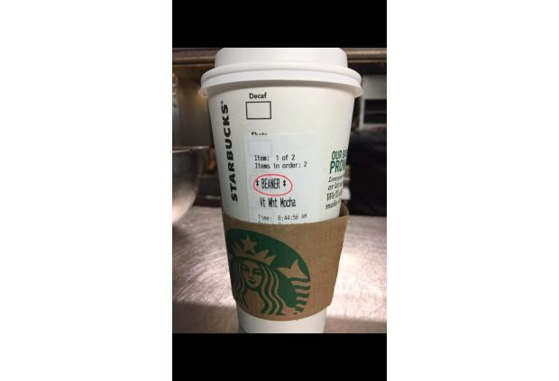 "The name ""Beaner"" was printed on this Starbucks cup given to a Mexican customer at a La Canada Flintridge store."