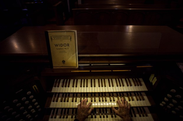 J. Thomas Strout, organist for First United Methodist Church, practices on Monday, May 14, 2018 for Sunday's concert celebrating his 50th year as organist for the church. (Photo by Sarah Reingewirtz, Pasadena Star-News/SCNG)
