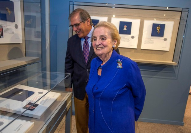 In this July 21, 2015, file photo, former Secretary of State Madeleine Albright visits the Nixon Library for the opening of 'Read My Pins: The Madeleine Albright Collection, a special exhibit featuring more than 200 pins she wore to communicate messages during her time as America's top diplomat. Photo: Michael Goulding,, SCNG